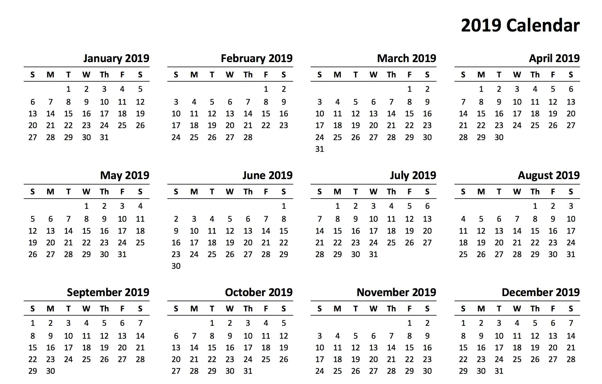 2019 printable calendar templates online::Download 2019 Printable Calendar
