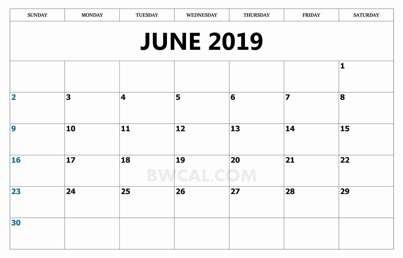 30 june 2019 calendar template year::June 2019 Calendar