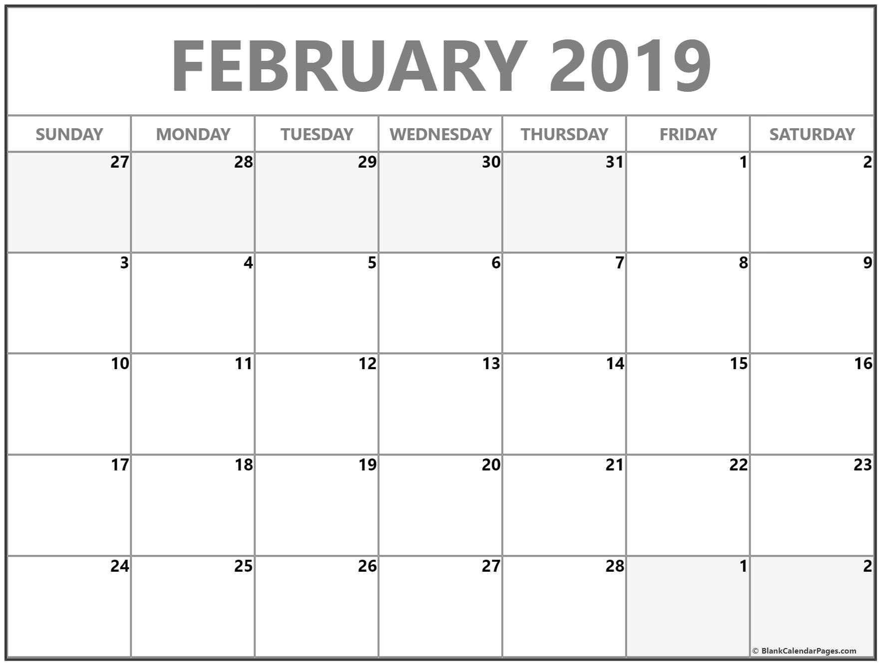 8 free february 2019 a4 calendar download calendar 2018 free::February 2019 Calendar Fillable