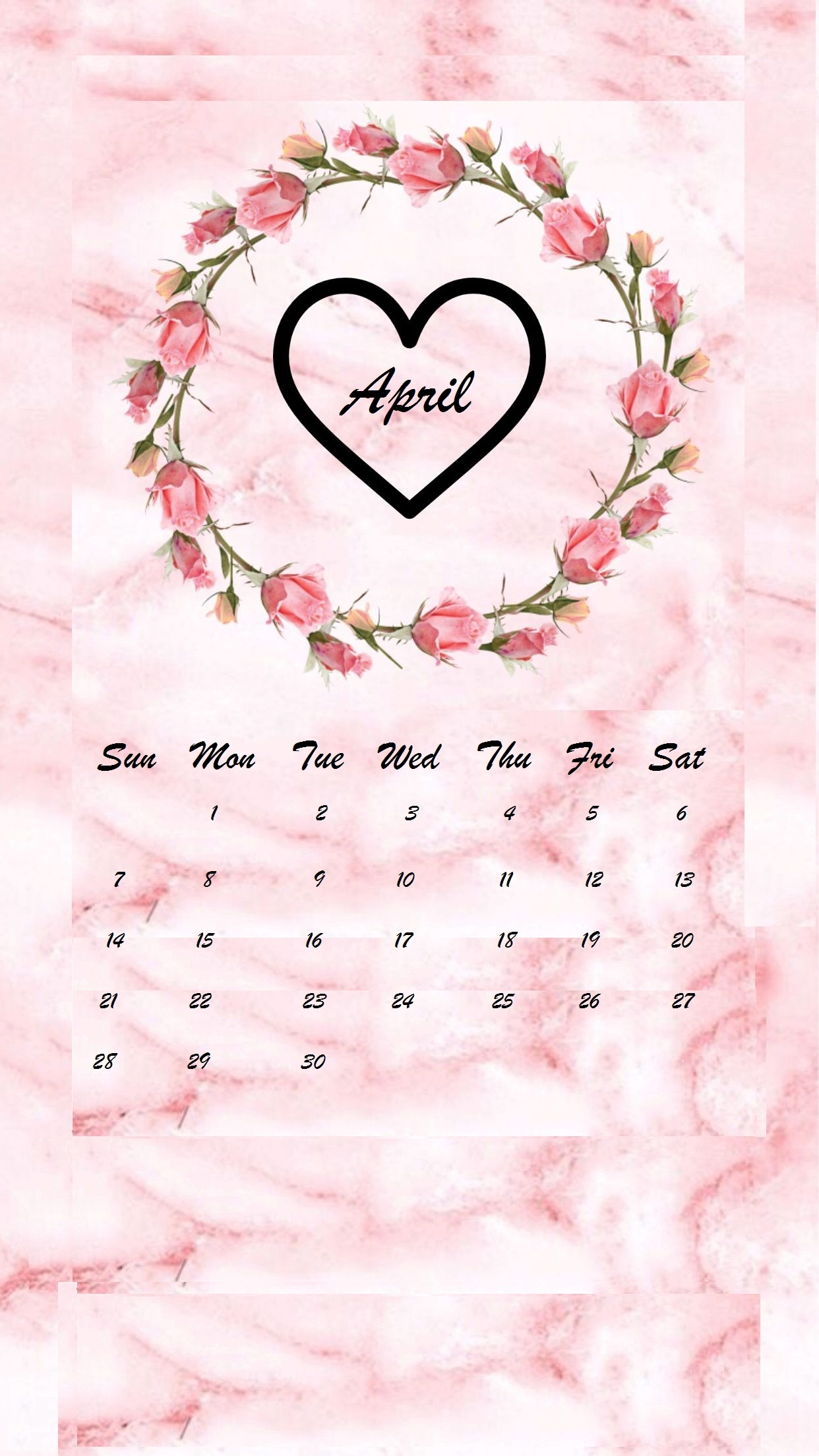 april 2019 iphone calendar wallpaper::April 2019 iPhone Calendar