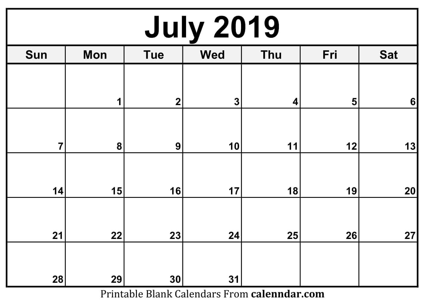 blank july 2019 calendar templates calenndar::July 2019 Calendar
