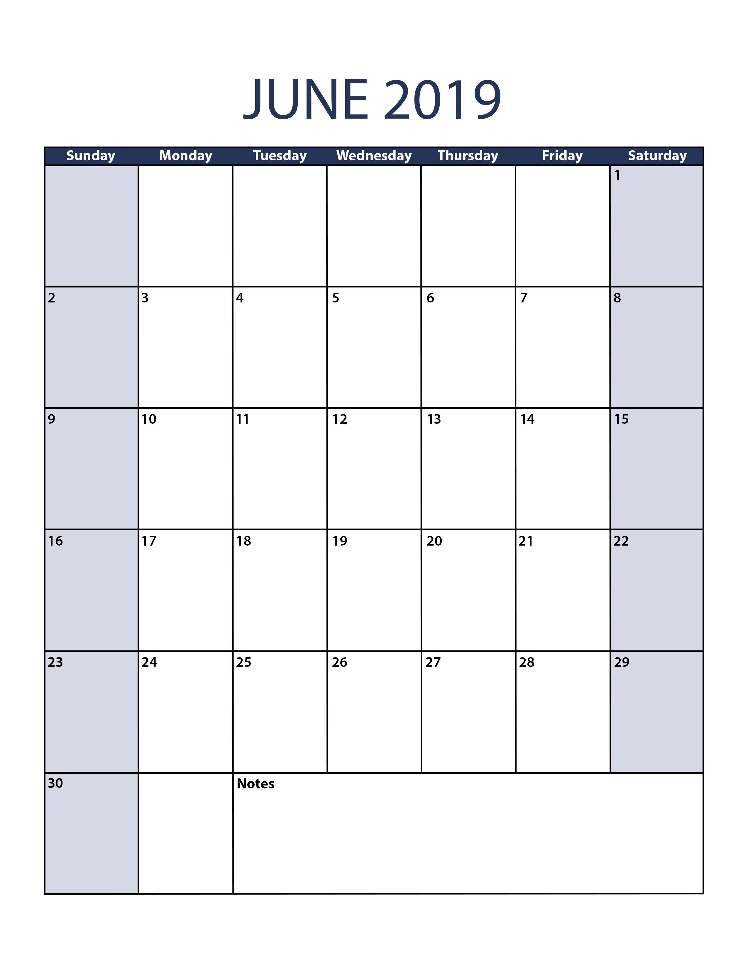 blank june 2019 calendar to print::June 2019 Calendar