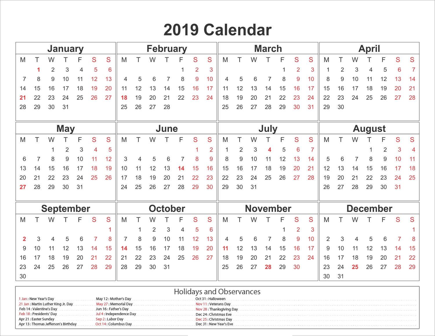 blank printable calendar 2019 with holidays printableshelter::Monthly 2019 Holidays Calendar Templates