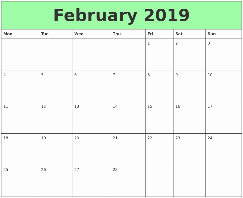calendar niche templates find niche templates on different::Blank February 2019 Calendar