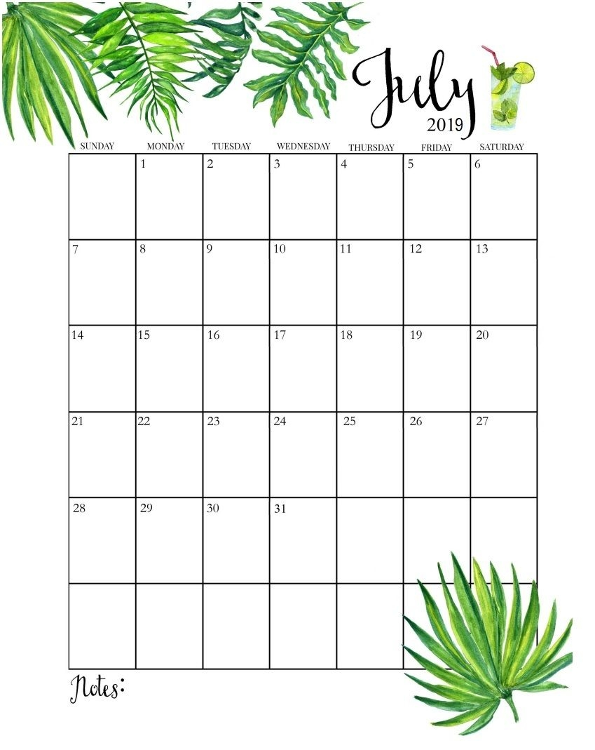 cute july 2019 calendar calender pinterest planners bullet::July 2019 Calendar