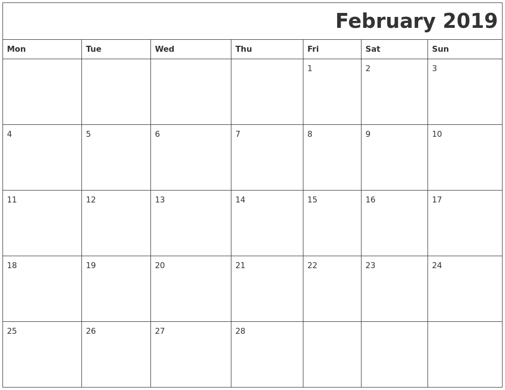 download february 2018 calendar thevillasco::February 2019 Calendar Word