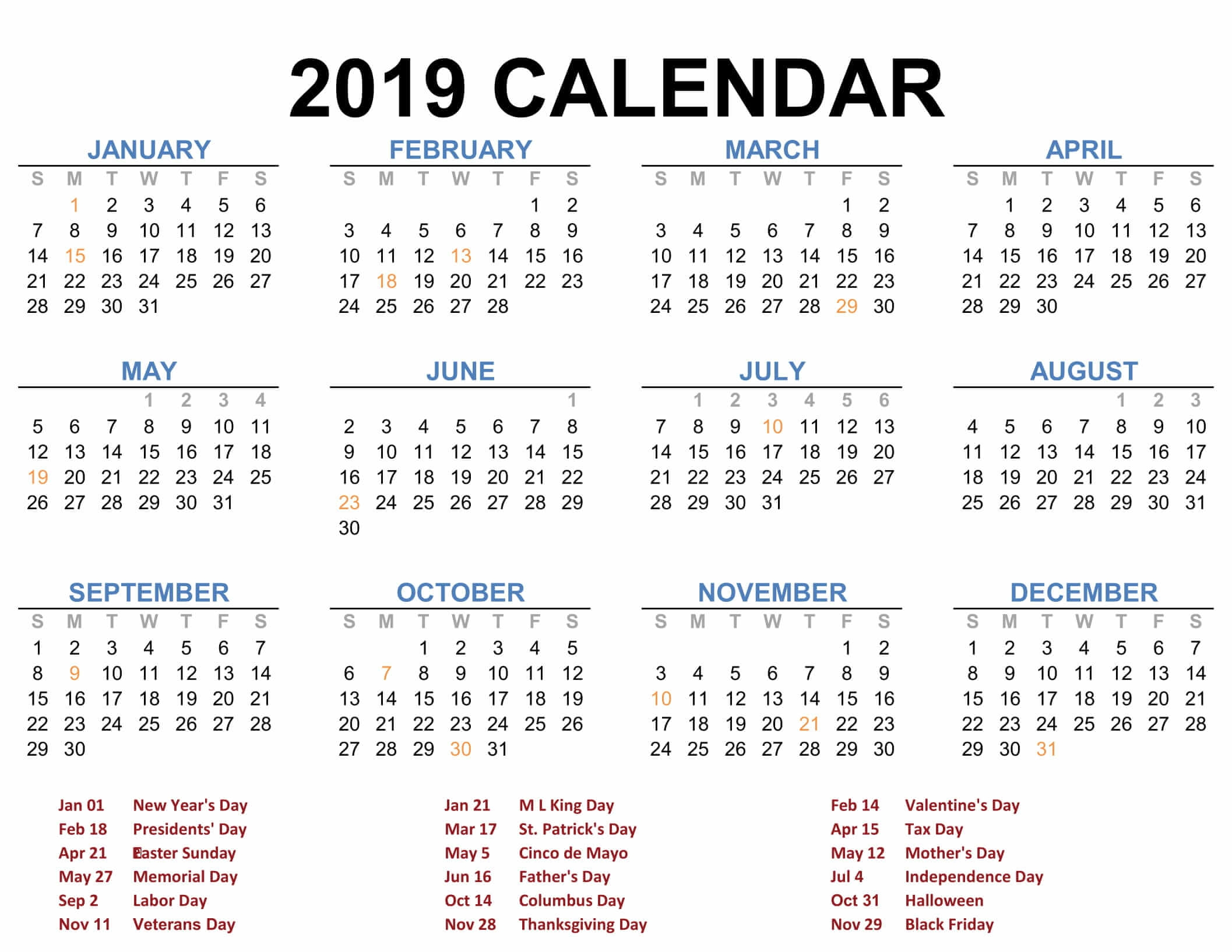 download free blank printable calendar pages 2019 templates::Download 2019 Printable Calendar