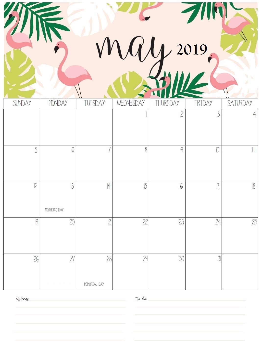 download may 2019 printable calendar template free printable::May 2019 Calendar Example