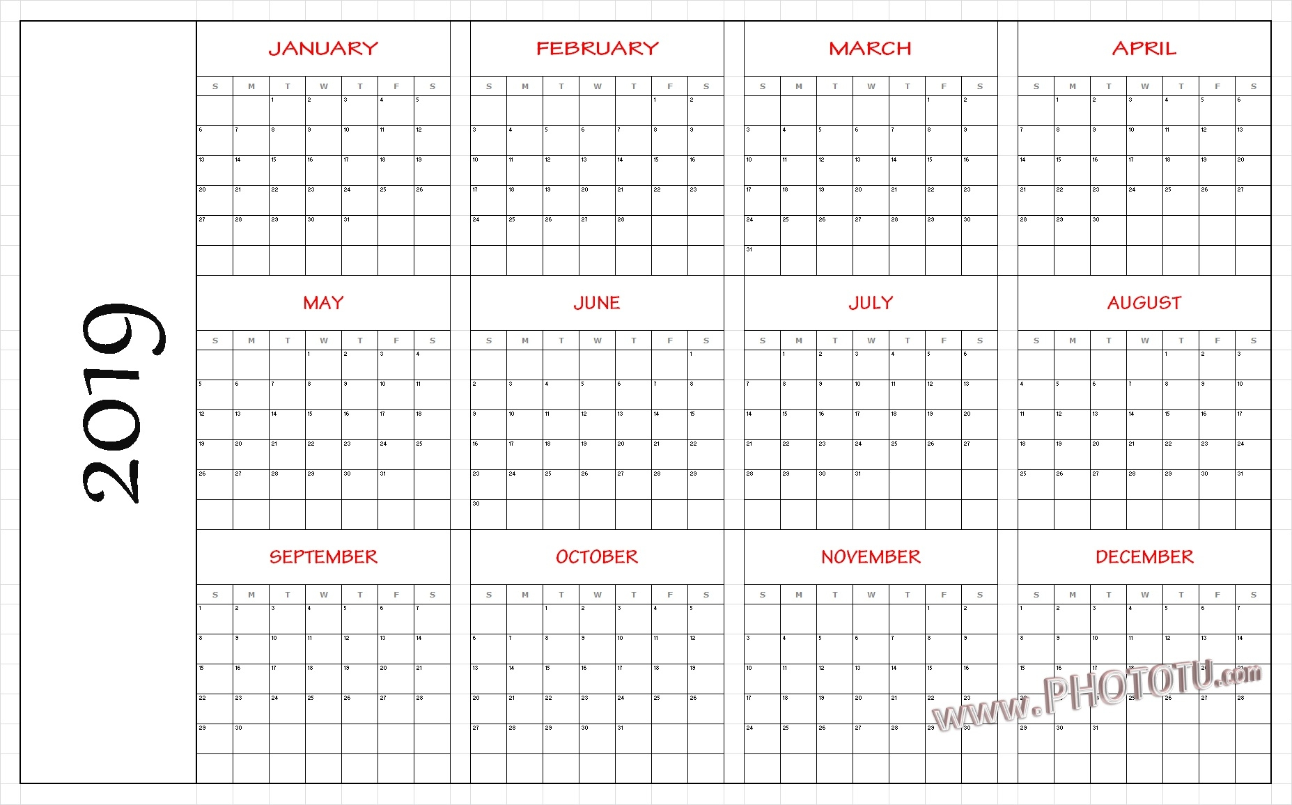 download template yearly calendar 2019 with uae dubai holidays::Monthly 2019 Holidays Calendar Templates