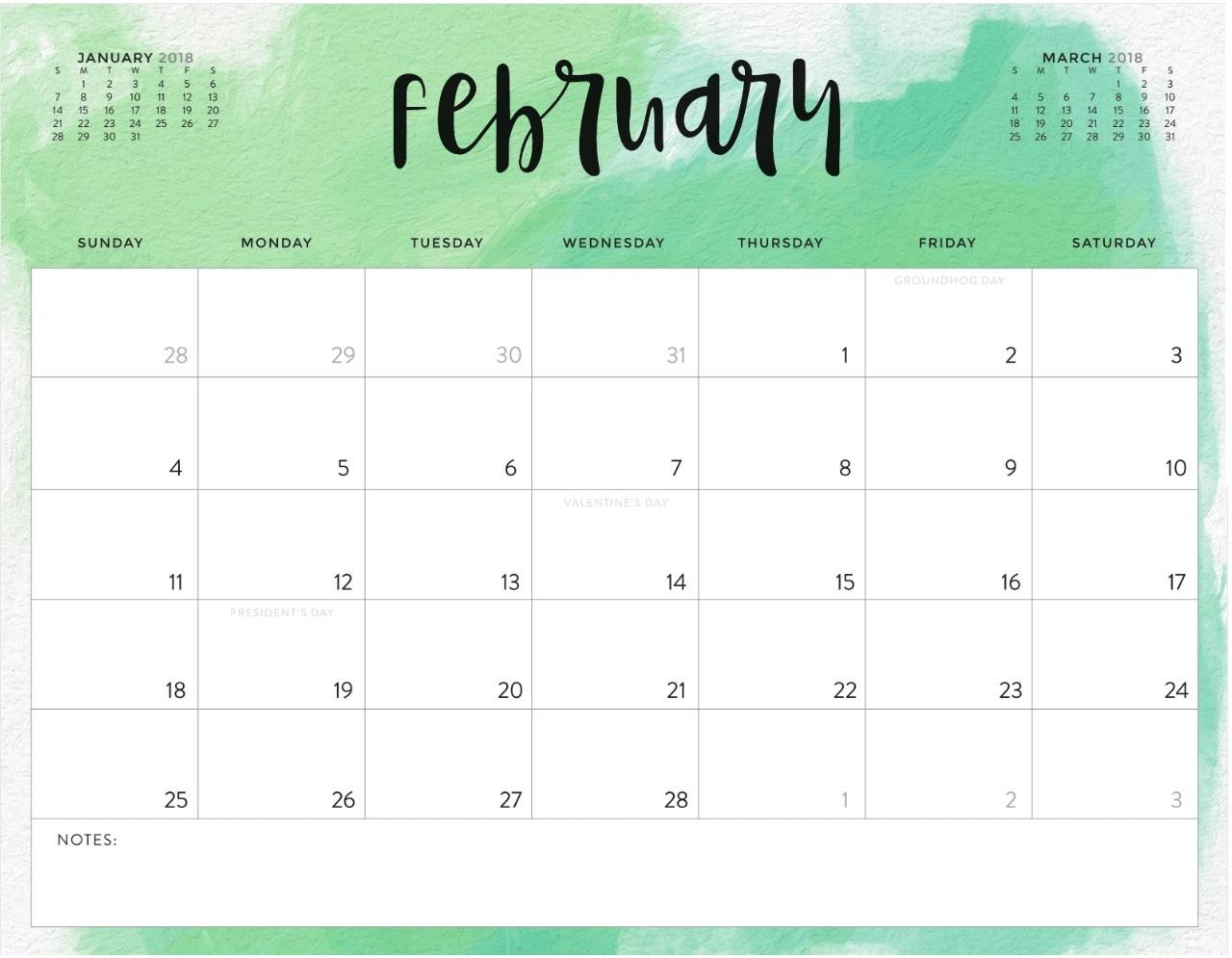 editable::February 2019 Calendar Excel