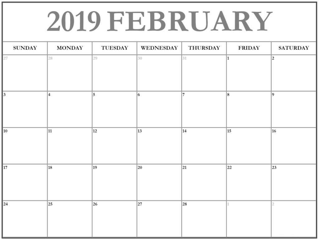 february 2019 calendar a4 printable template december 2018 calendar::February 2019 Calendar A4