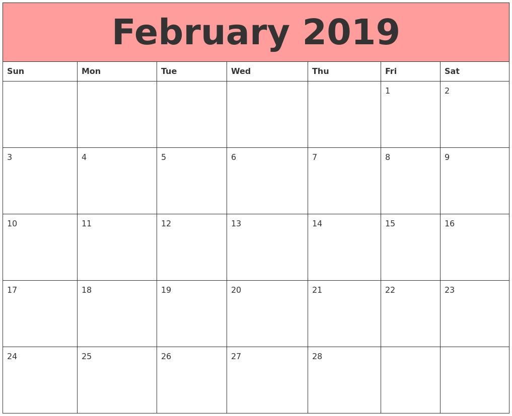 february 2019 calendar a4 printable::February 2019 Calendar A4