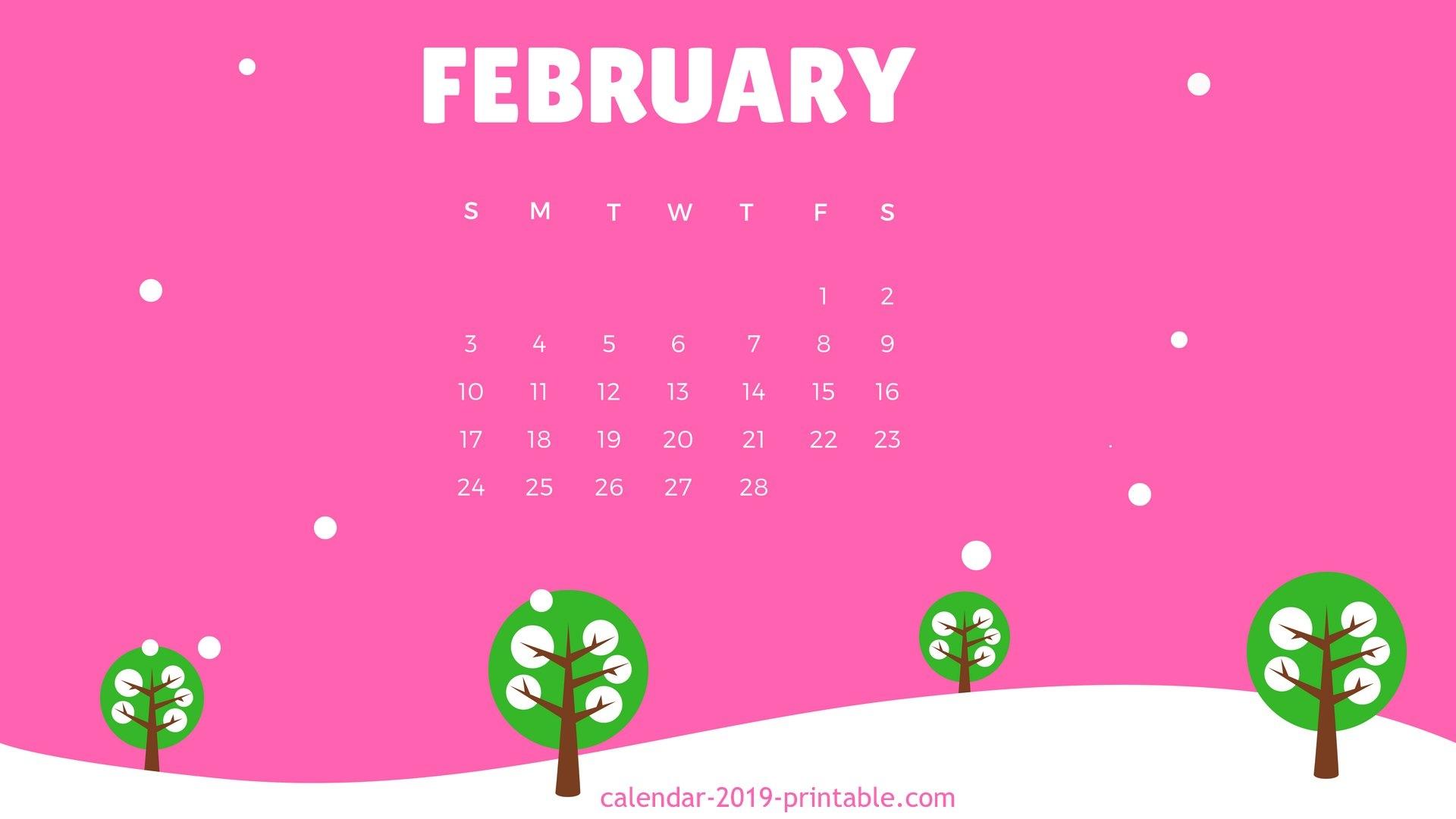 February 2019 Desktop Calendar  Calendar Template Printable