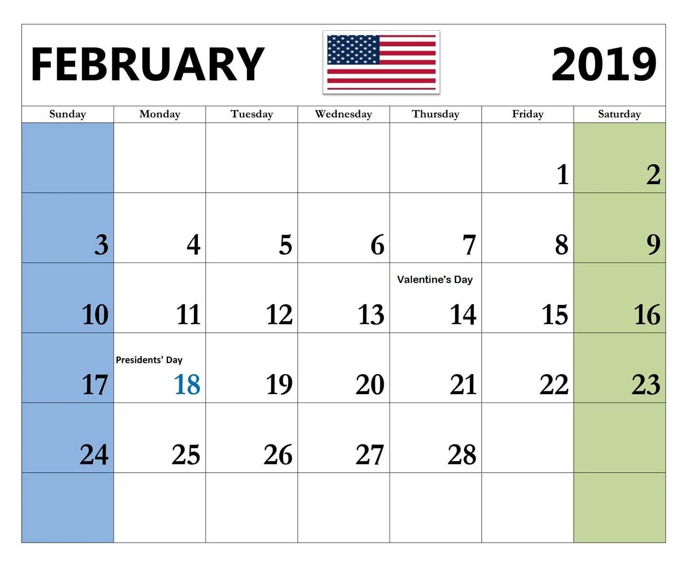 february 2019 calendar pdf excel word free download::February 2019 Calendar Word