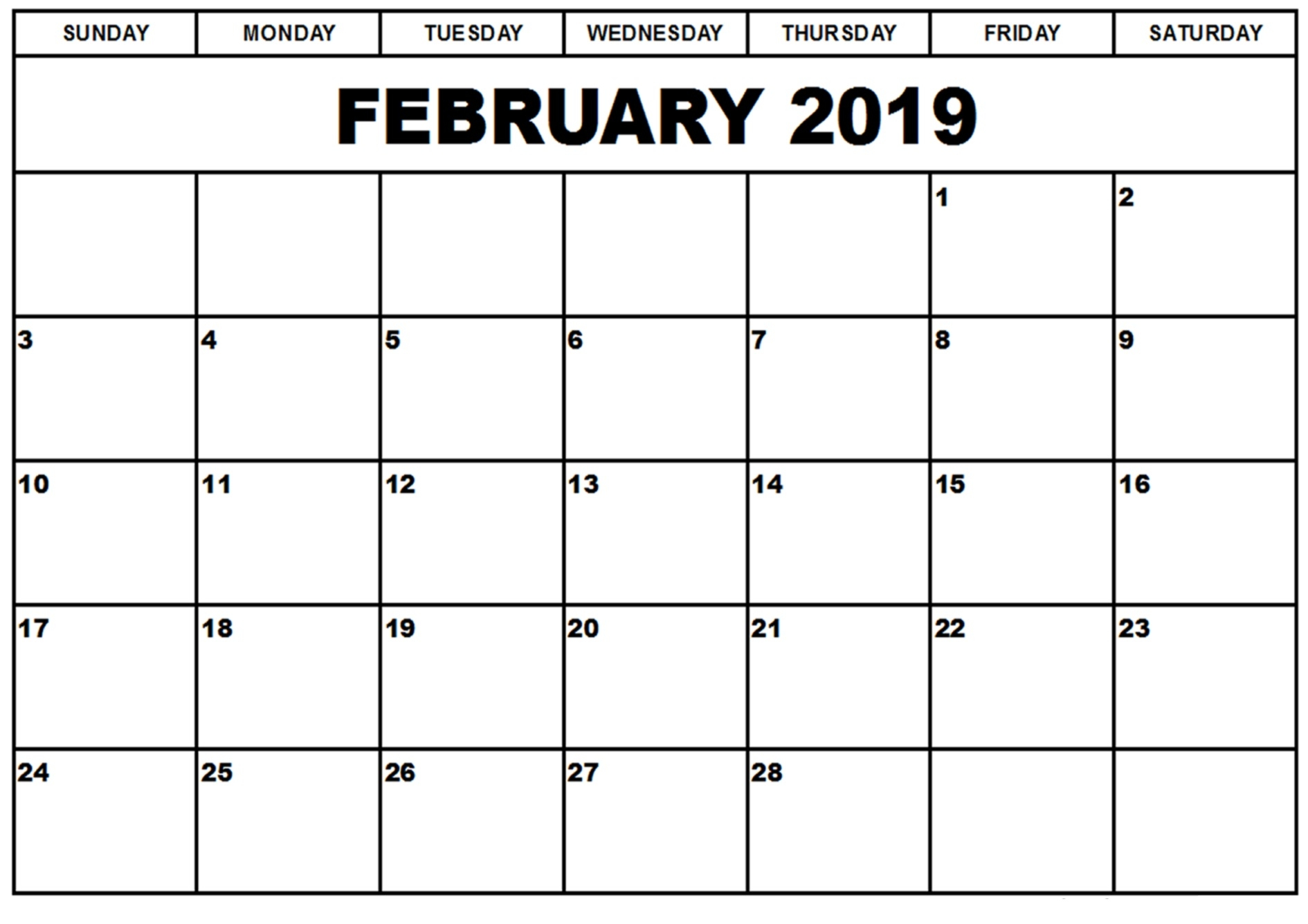 february 2019 calendar printable templates this site provides::Blank February 2019 Calendar