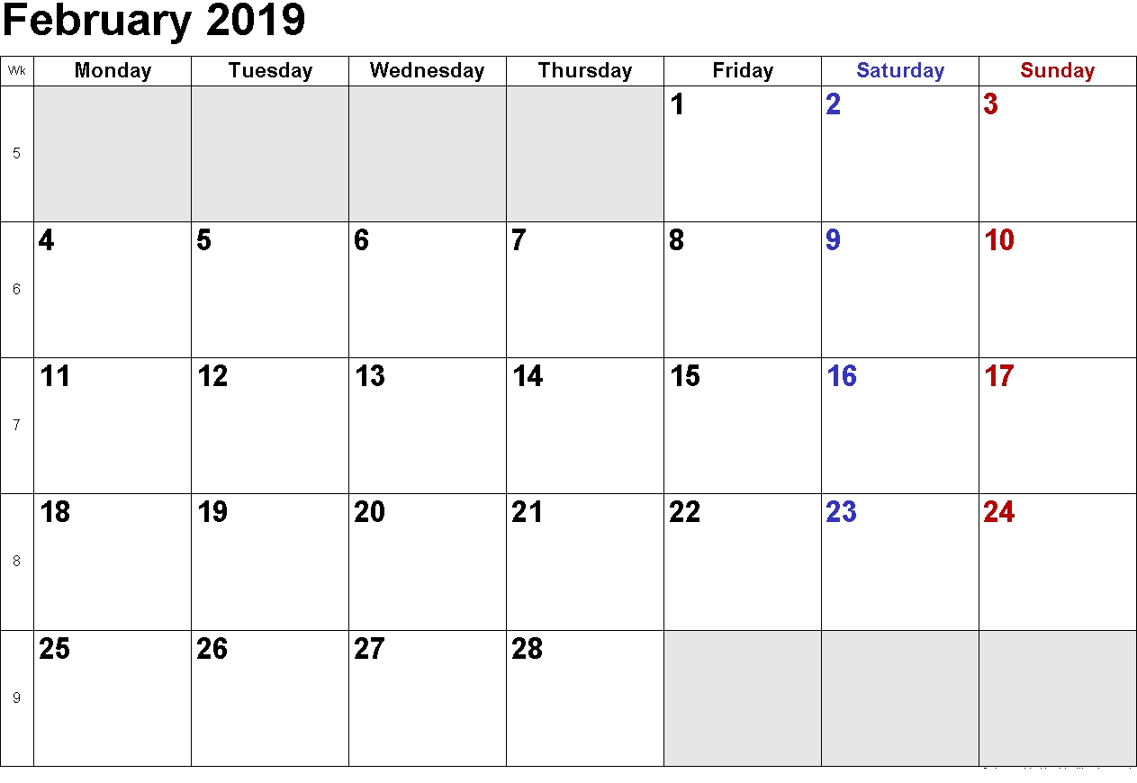 february 2019 calendar printable templates this site provides::February 2019 Calendar Word