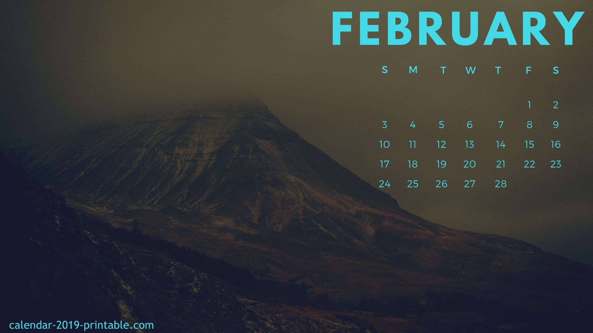 February 2019 Desktop Calendar  Calendar Template Printable