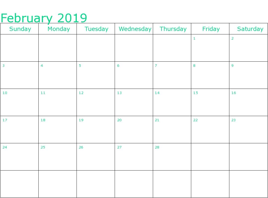 february 2019 editable calendar free printable calendar templates::Blank February 2019 Calendar