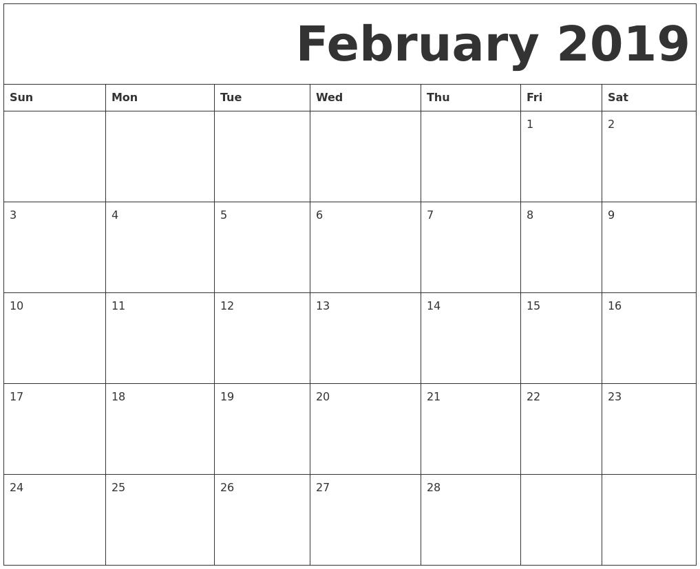 february 2019 free printable calendar::Blank February 2019 Calendar