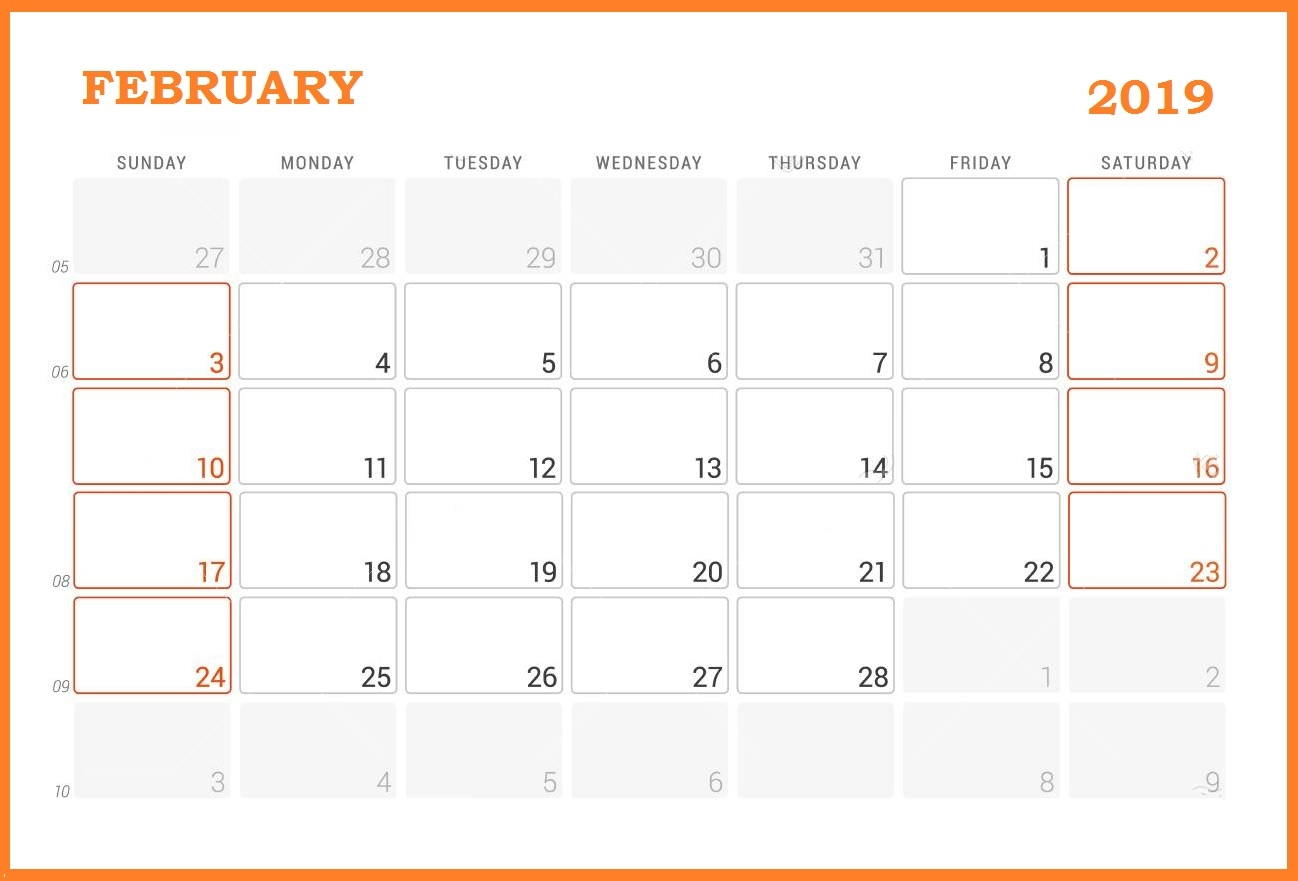 february canada 2019 holiday calendar february 2019 calendar printable::Blank February 2019 Calendar