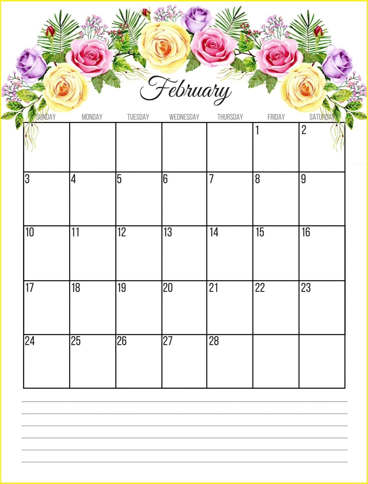 floral february 2019 calendar monthly templates free download hd::Blank February 2019 Calendar