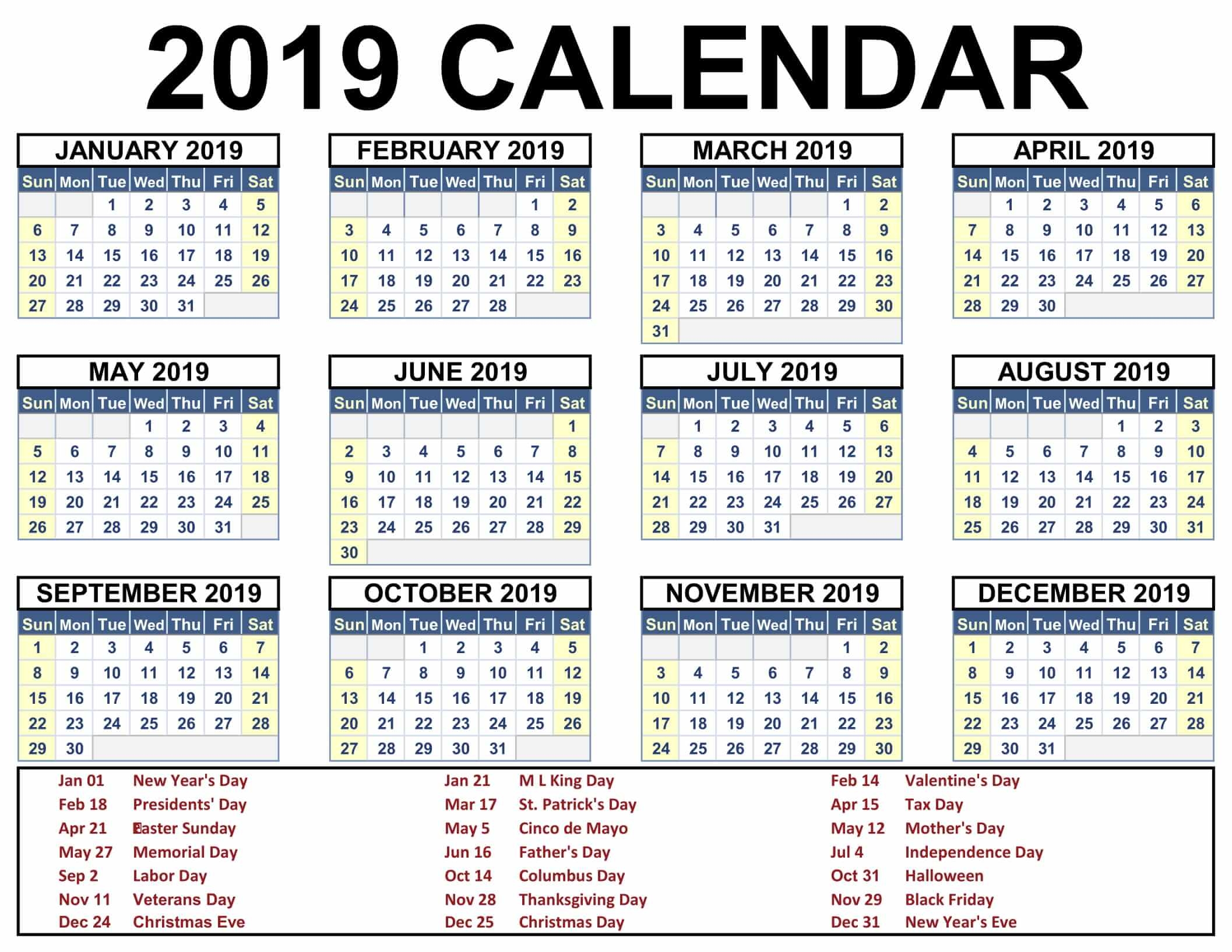 Download 2019 Printable Calendar
