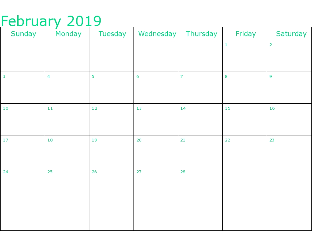 February 2019 Calendar Fillable