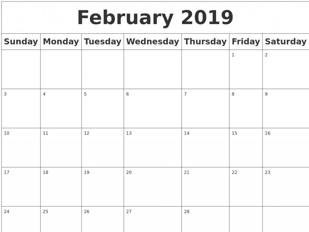free printable february 2019 editable calendar blank calendar 2019::February 2019 Calendar Editable