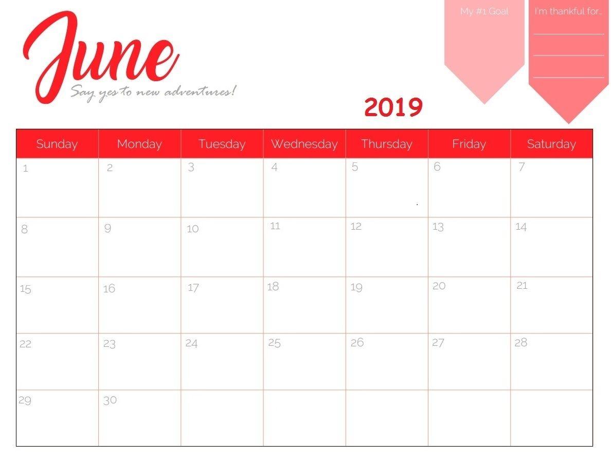 free printable june 2019 calendar::June 2019 Calendar