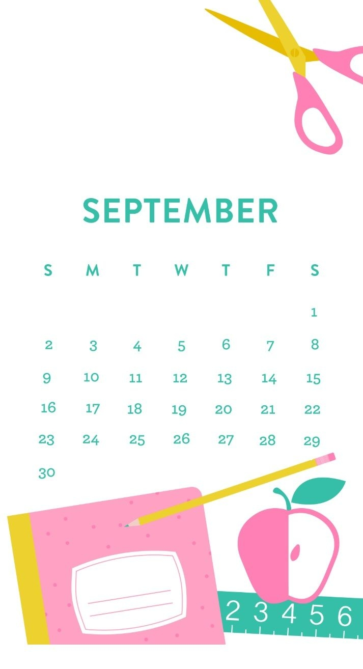 September 2019 iPhone Wallpaper Calendar