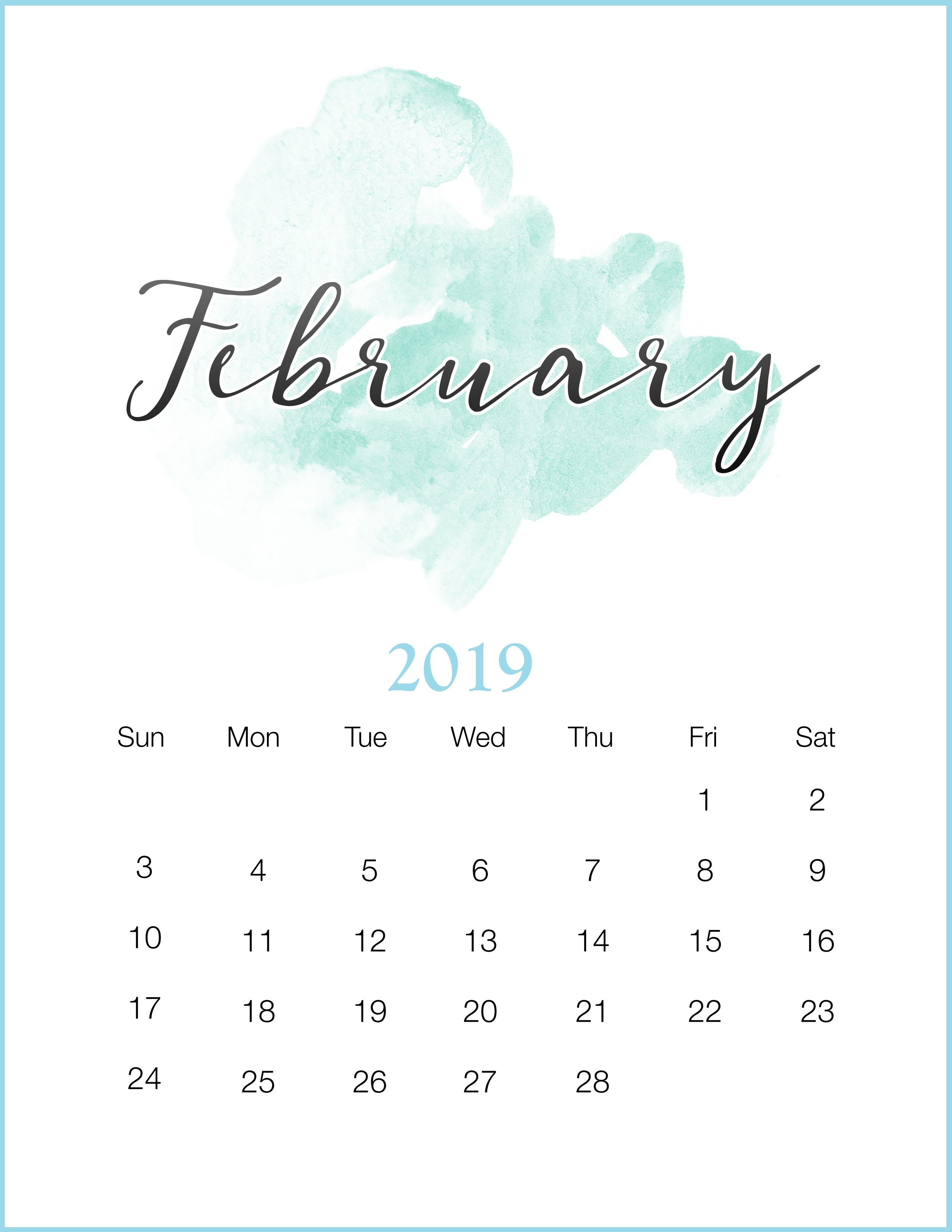 free template february 2019 editable calendar march 2019 calendar::Blank February 2019 Calendar