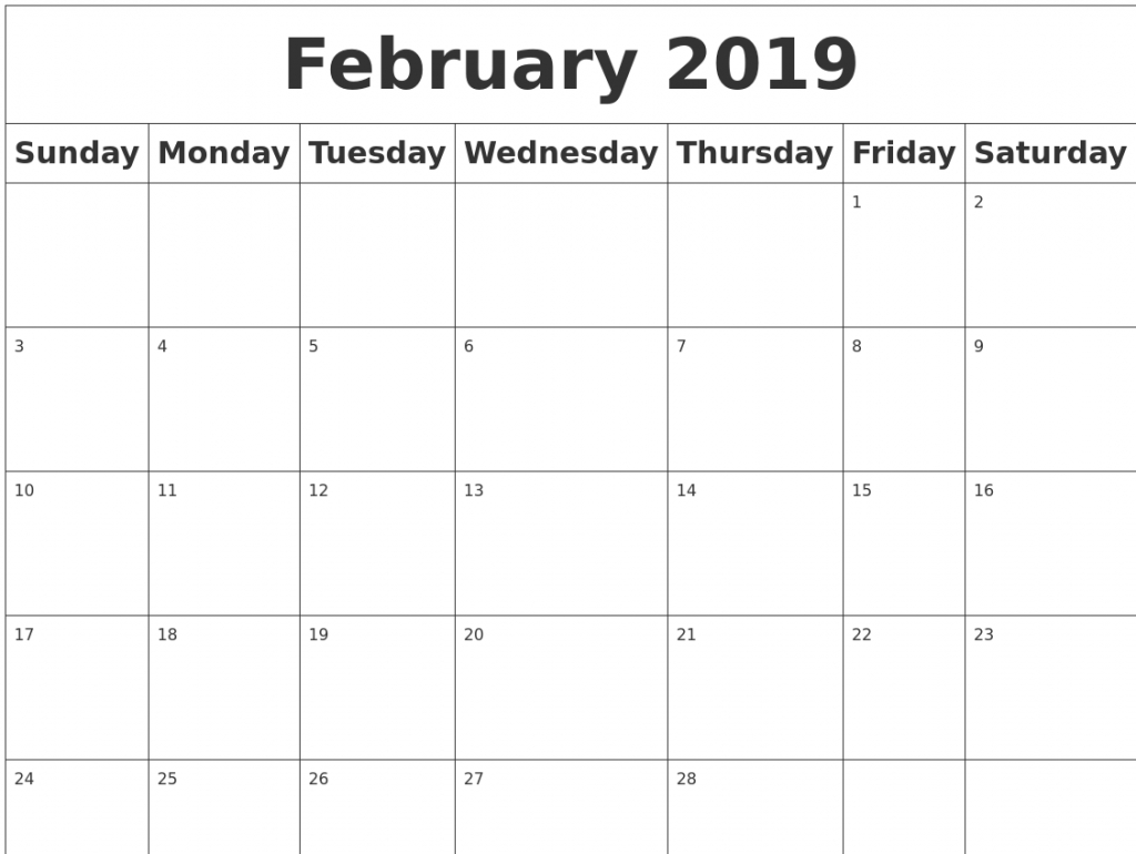 get february 2019 calendar a4 free printable calendar 2019::Blank February 2019 Calendar