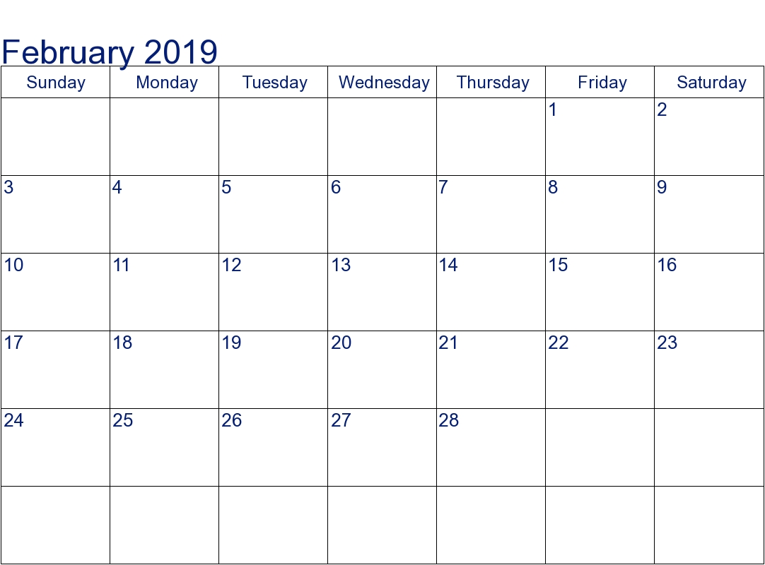 get free february 2019 calendar a4 download::February 2019 Calendar A4