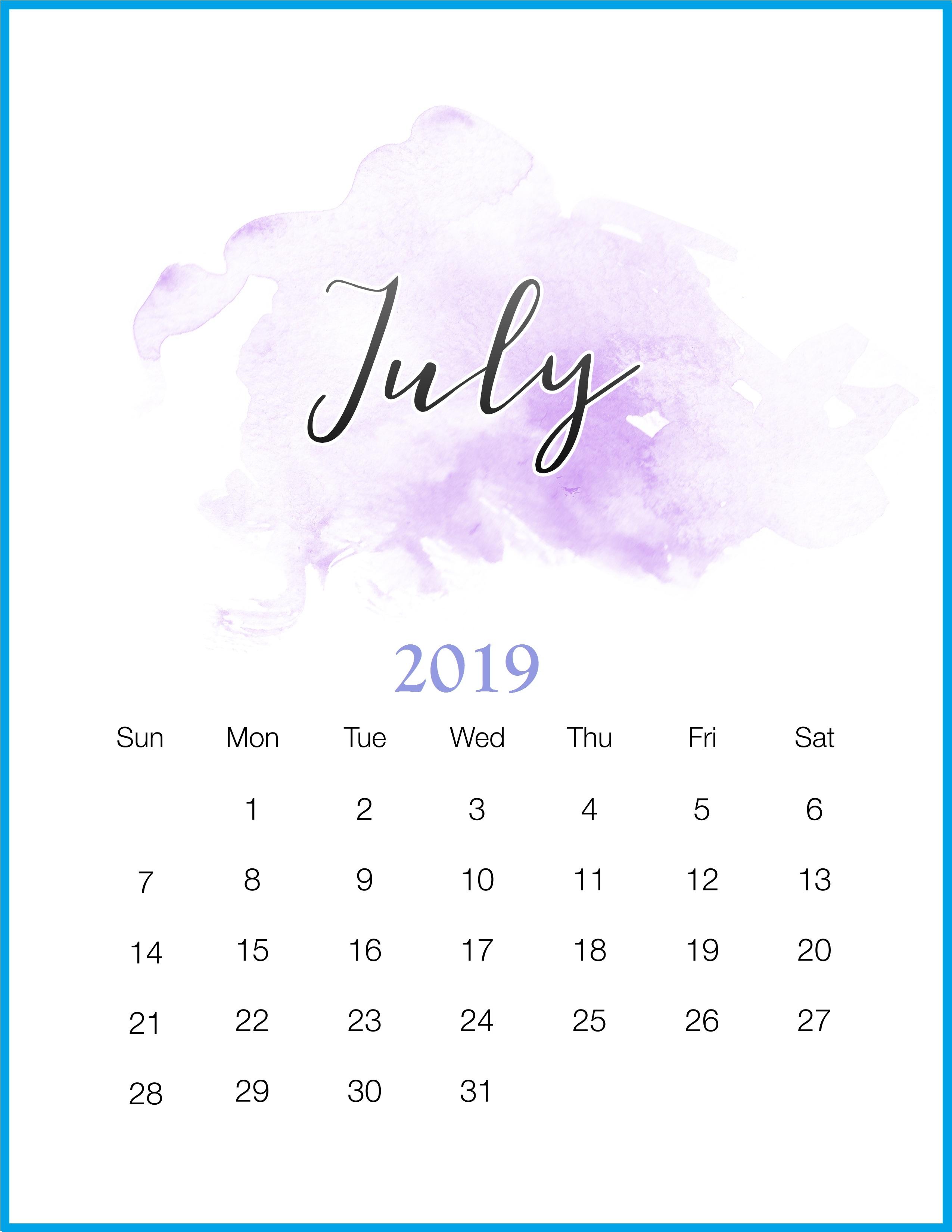get free july 2019 calendar template december::July 2019 Calendar