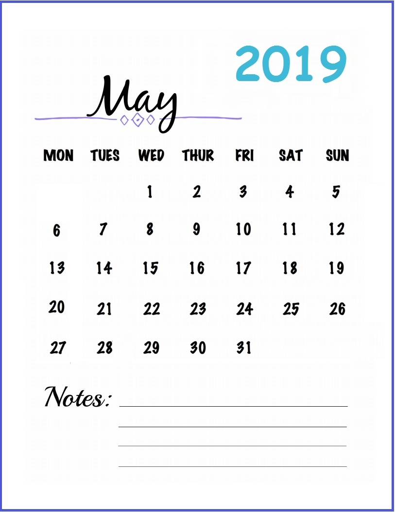 get free may 2019 blank calendar download may::May 2019 Blank Template