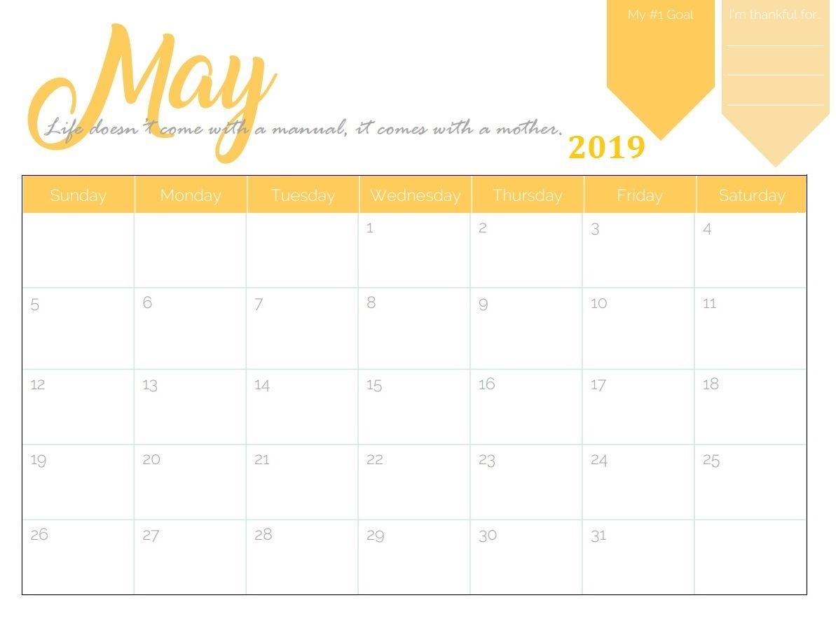 get free may 2019 blank calendar download::May 2019 Blank Template