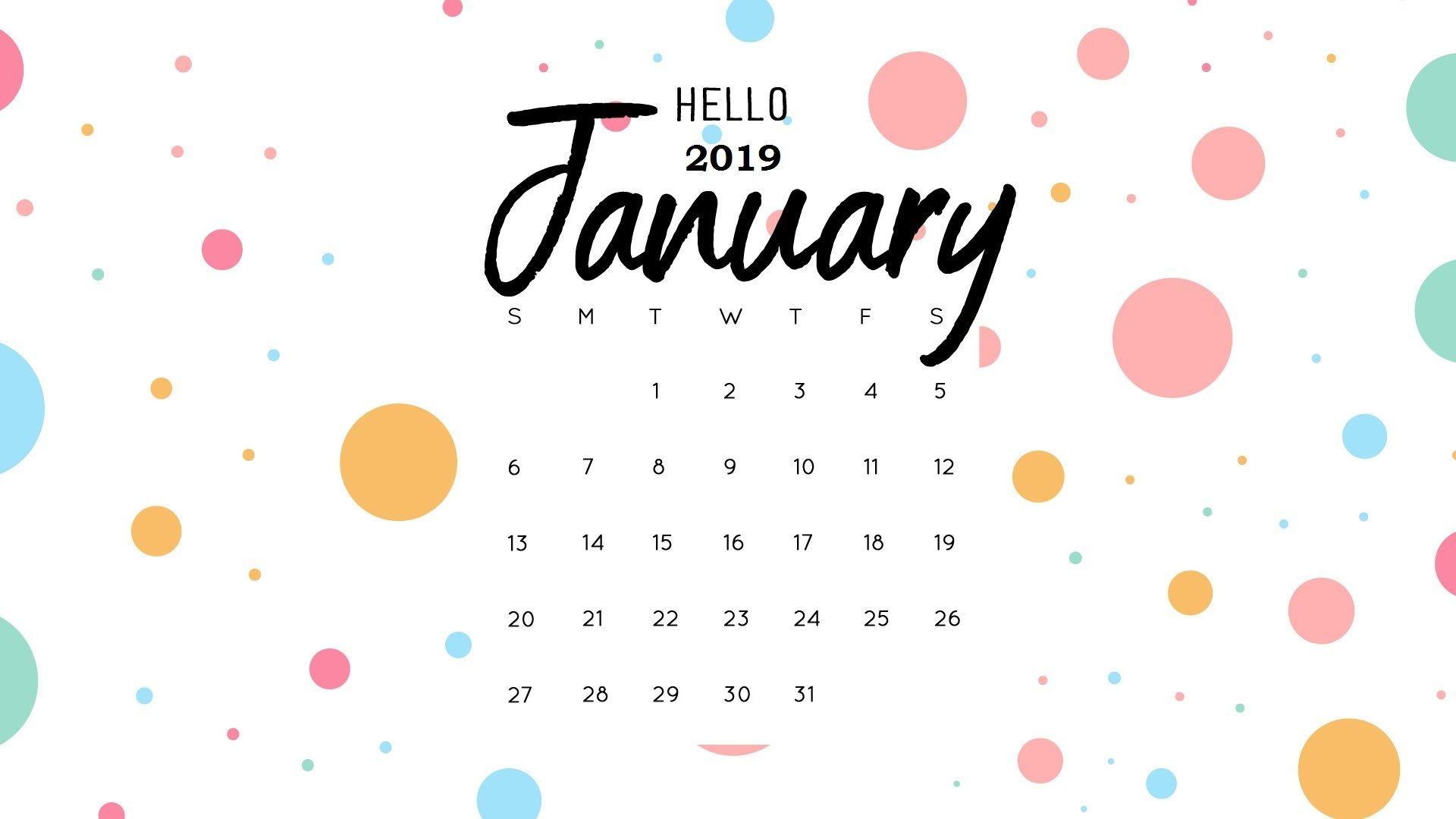 hello january 2019 calendar wallpaper monthly calendar templates::January 2019 Desktop Calendar Wallpaper