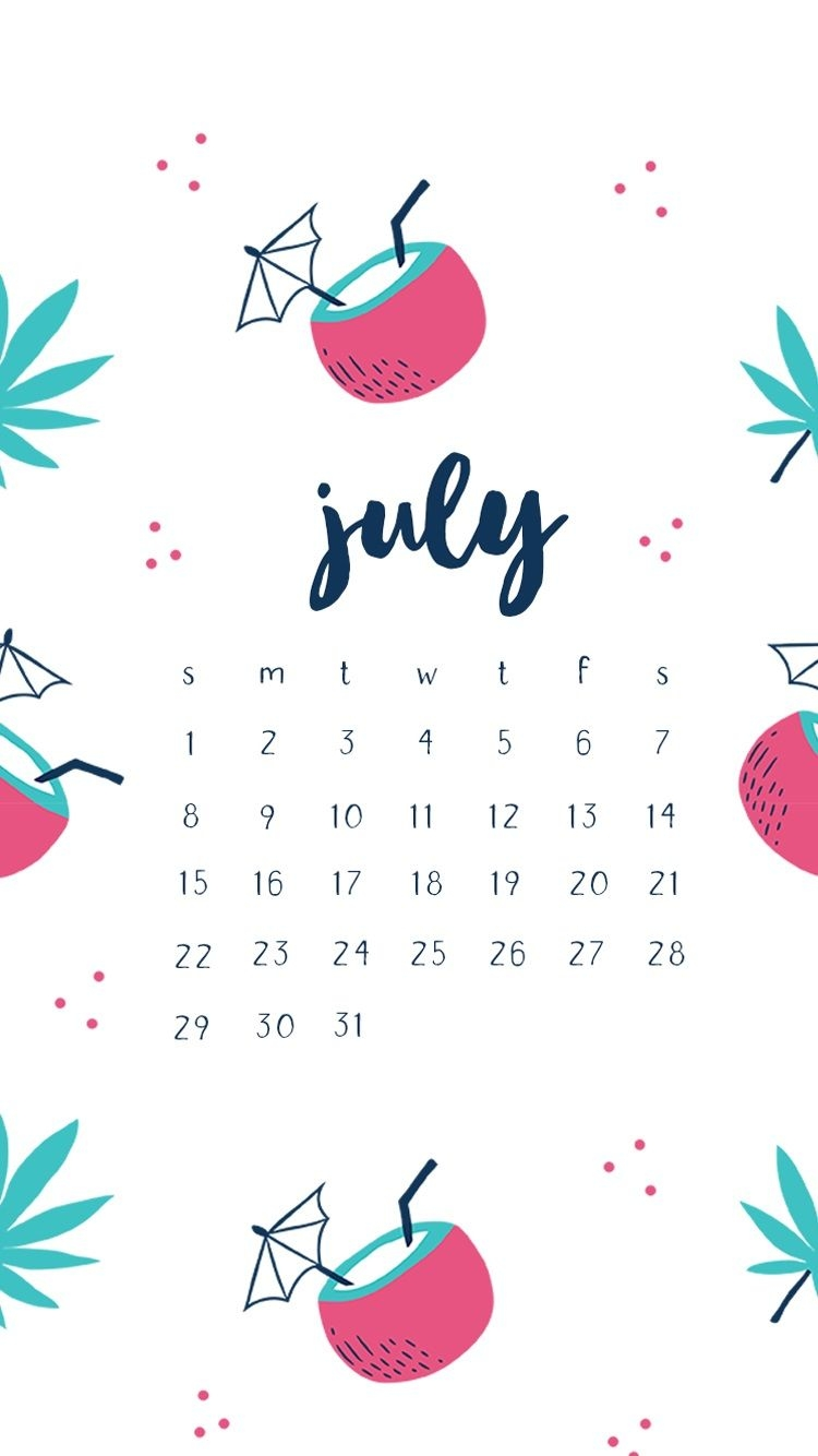 hello july 2018 iphone calendar wallpapers::July 2019 iPhone Calendar Wallpaper