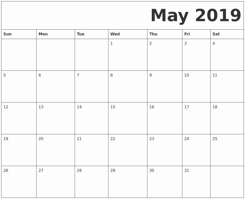 inspirational 30 examples free may printable calendar 2019::May 2019 Calendar Example