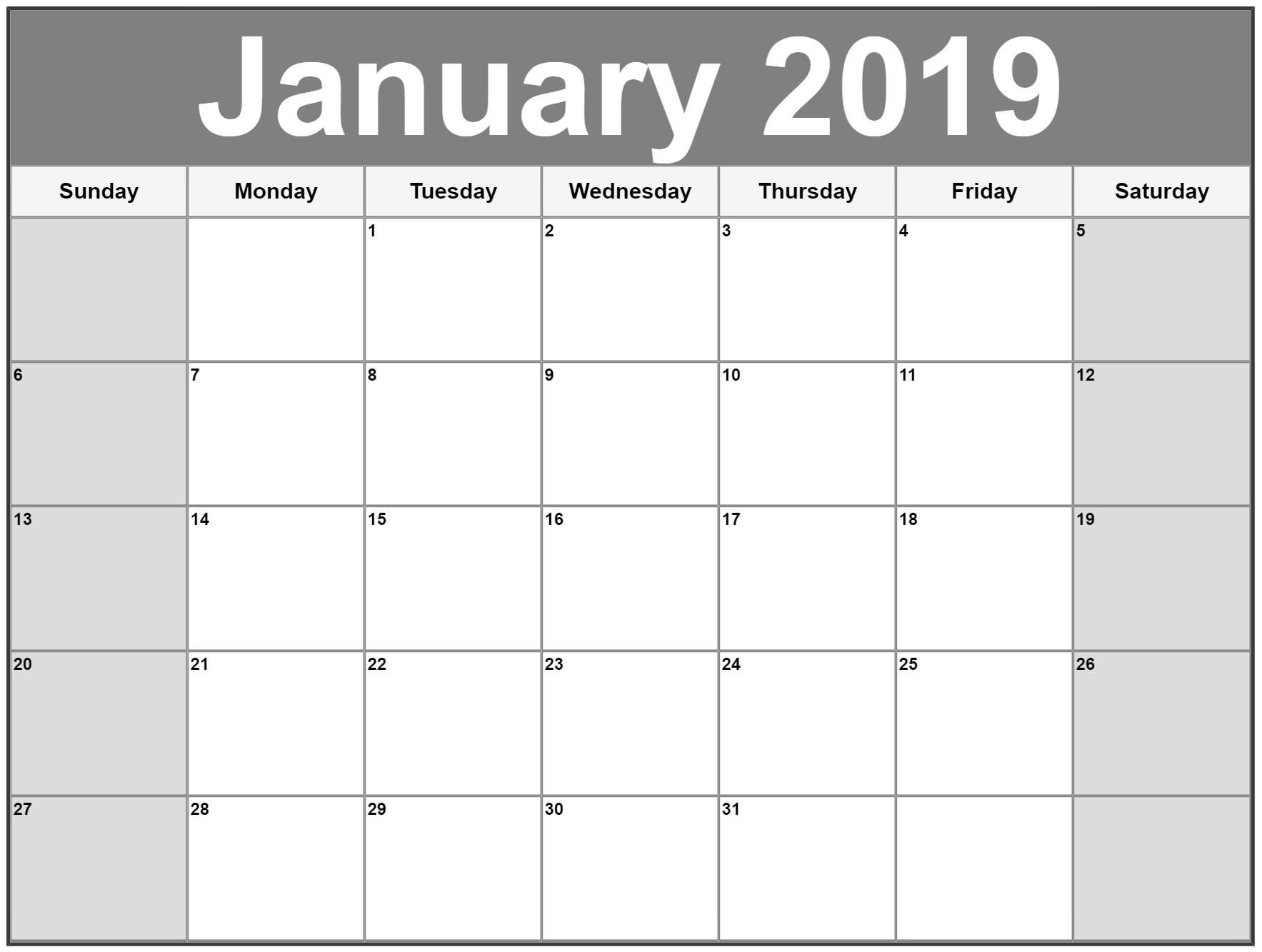 january 2019 calendar canada calendar template printable::January 2019 iPhone Calendar