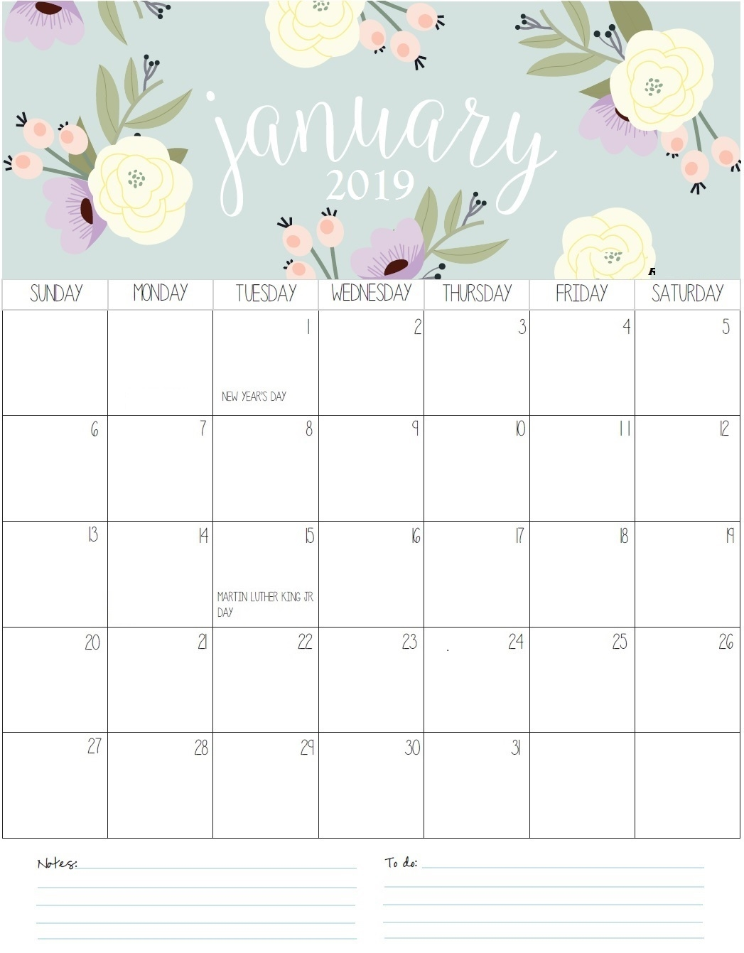 january 2019 calendar ::January 2019 iPhone Calendar