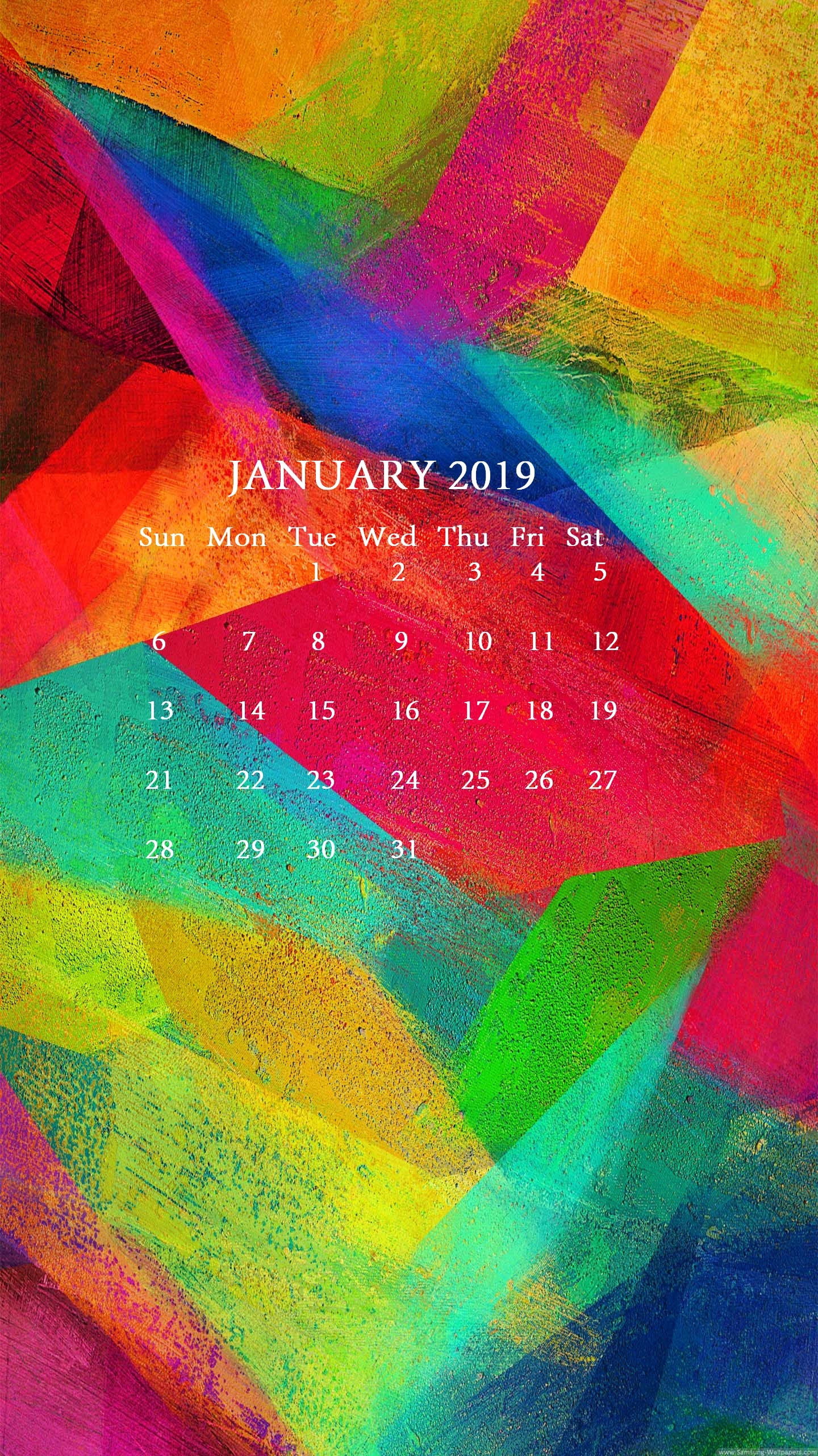 january 2019 iphone calendar wallpaper::January 2019 iPhone Calendar