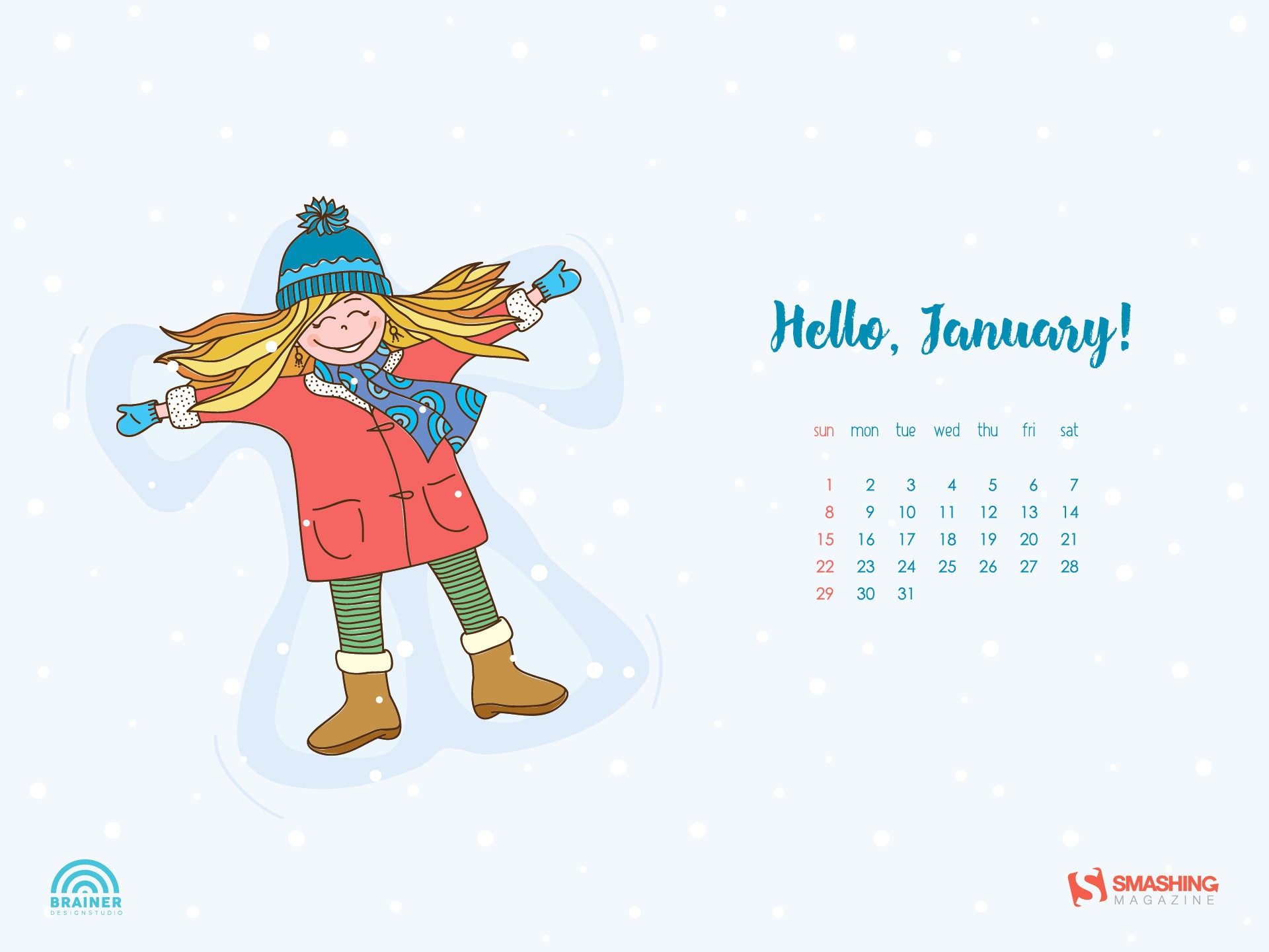 January 2019 Desktop Calendar Wallpaper