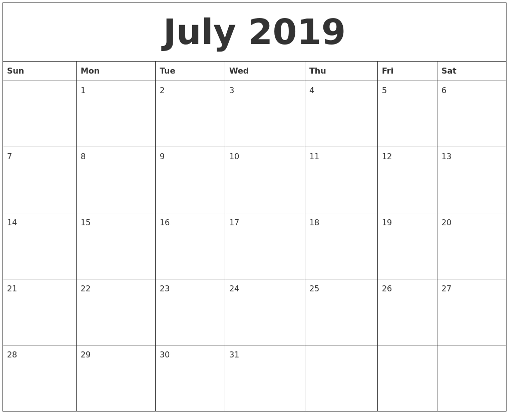 july 2019 calendar::July 2019 Calendar