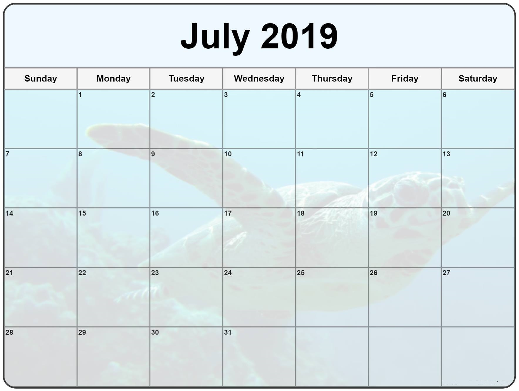 july 2019 editable calendar free printable calendar templates::July 2019 Calendar