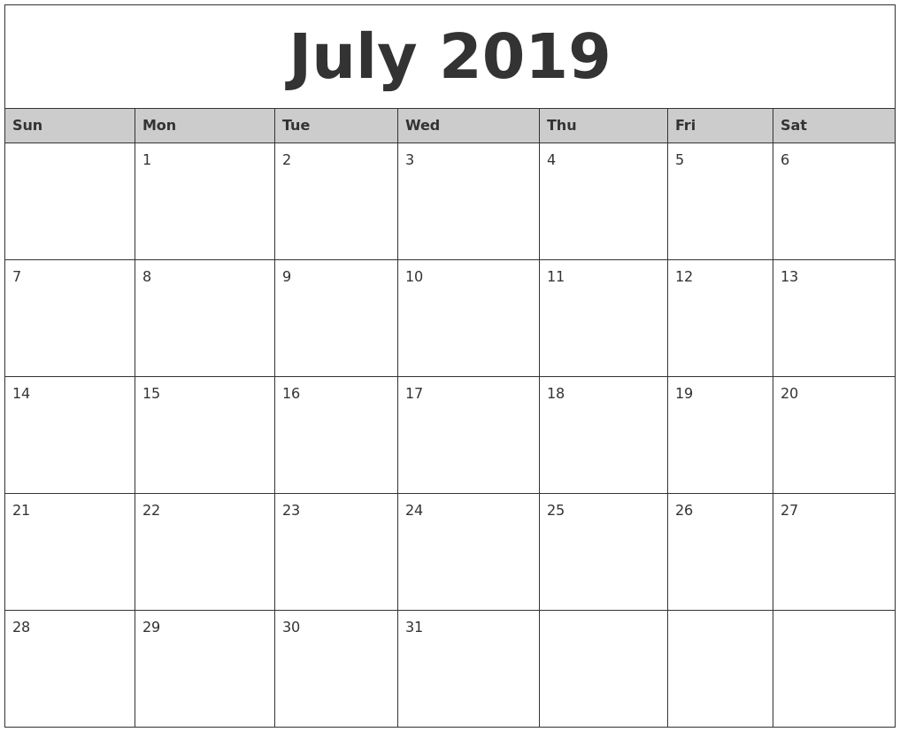 july 2019 monthly calendar printable::July 2019 Calendar