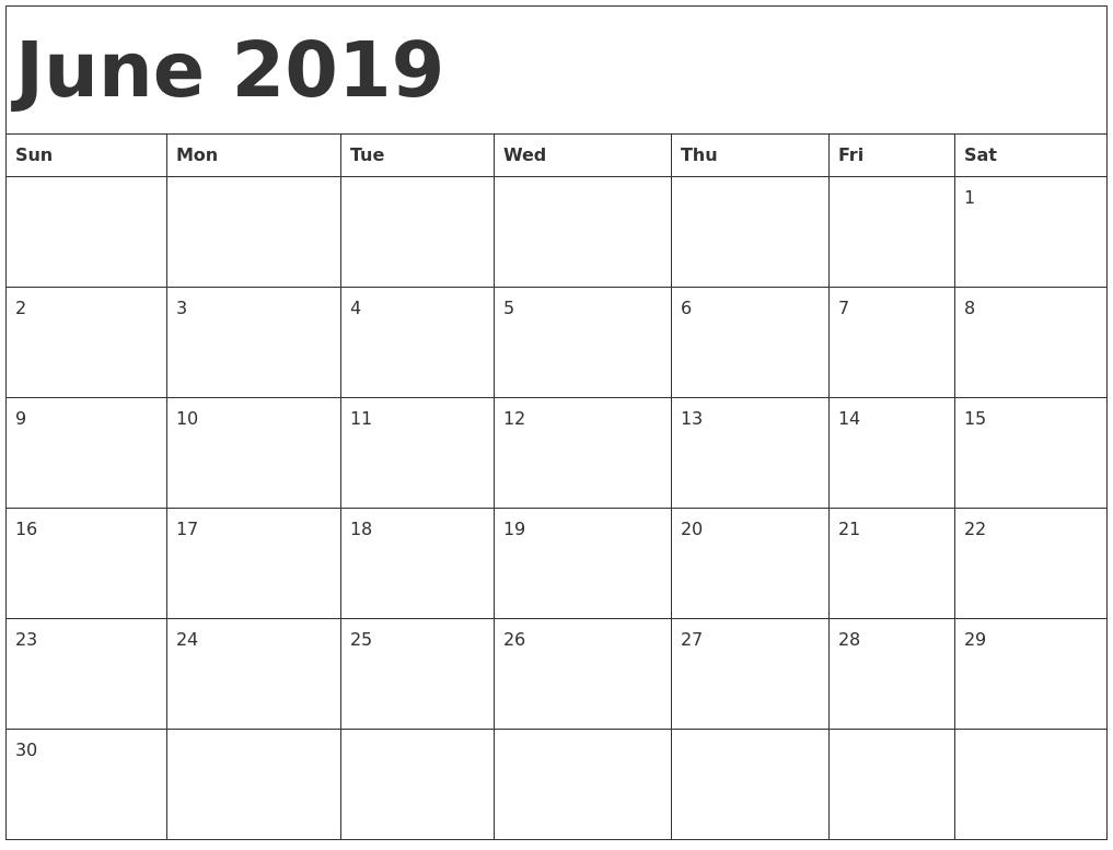 june 2019 calendar template::June 2019 Calendar