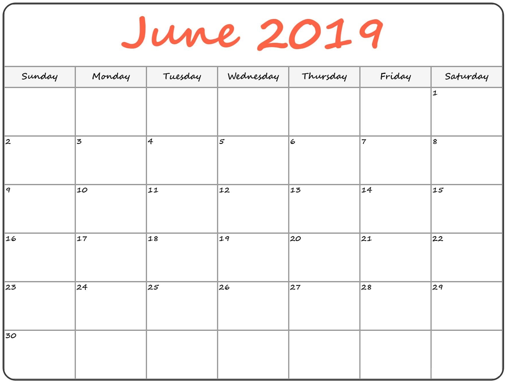 june 2019 holiday blank calendar download printable::June 2019 Calendar