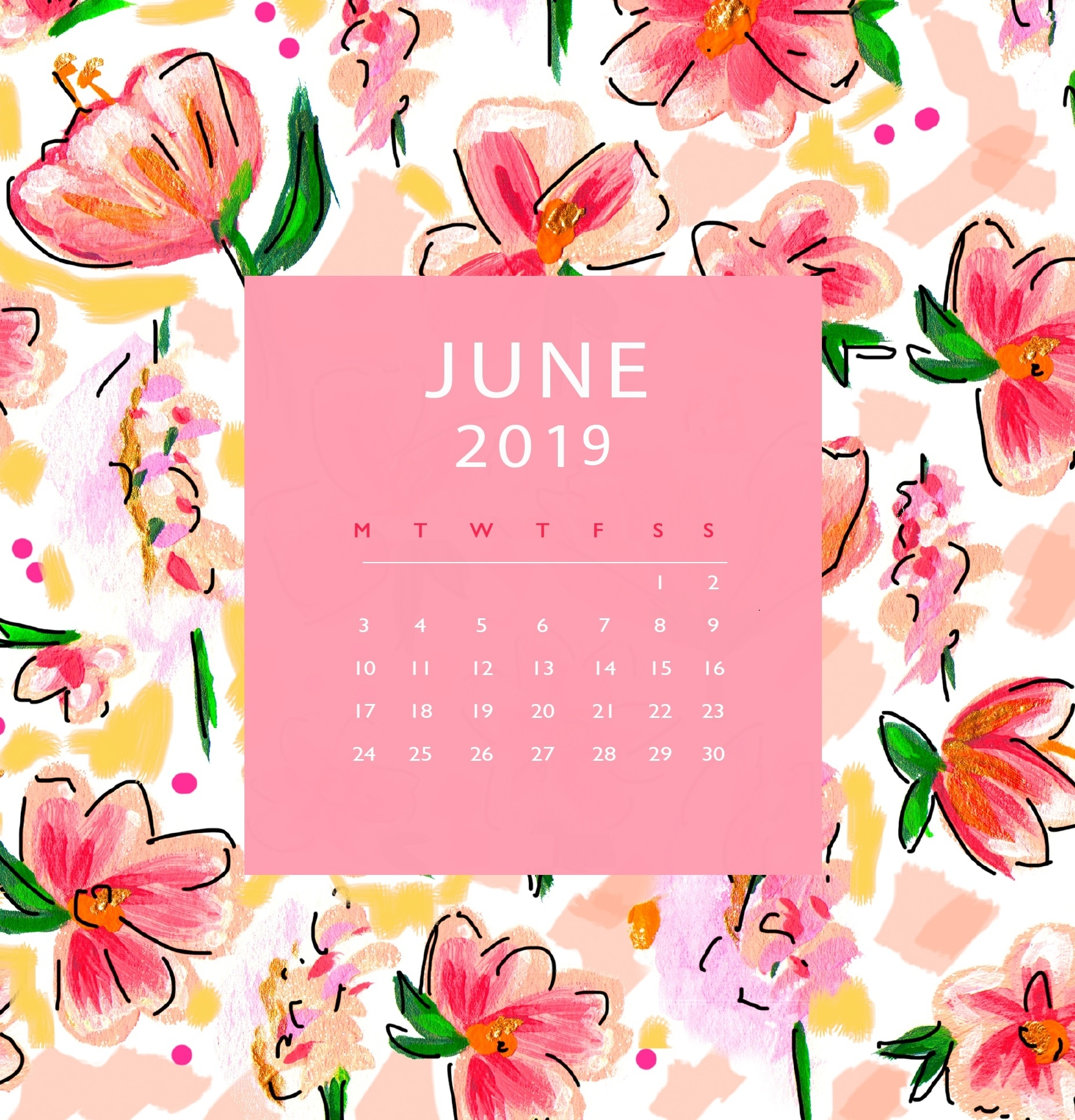 june 2019 iphone calendar wallpaper::June 2019 iPhone Calendar Wallpaper