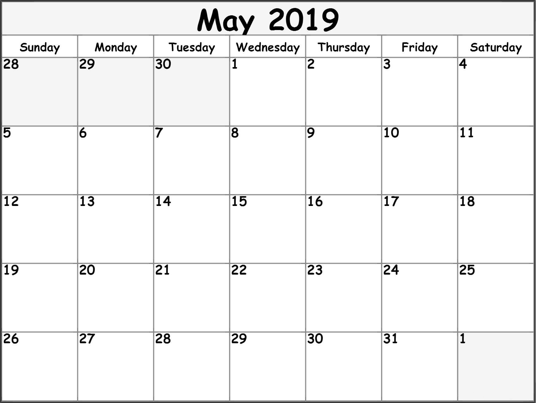 may 2019 blank calendar download blank ::May 2019 Blank Template
